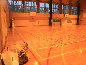北野台中学校体育館に設置された避難所